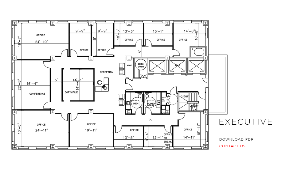 City place office floor plans Office building floor plan layout
